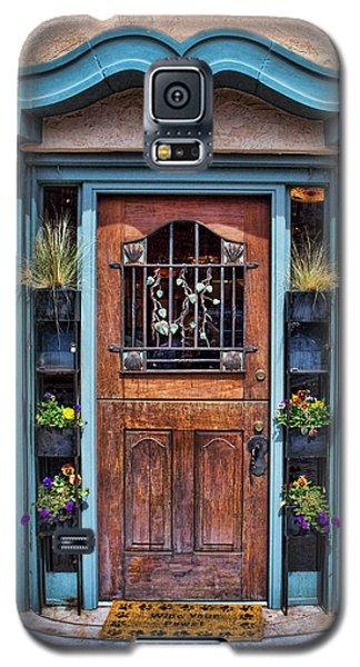 Galaxy S5 Case featuring the photograph Santa Fe Blue Door by Sylvia Thornton