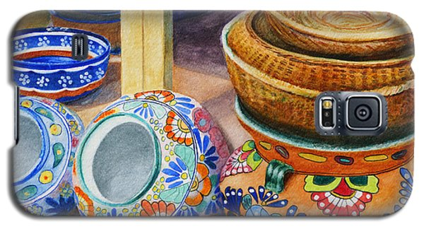 Galaxy S5 Case featuring the painting Santa Fe Hold 'em Pots And Baskets by Karen Fleschler