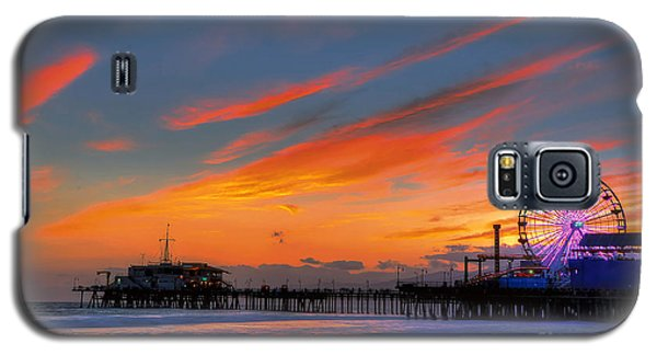 Santa Monica Pier At Dusk Galaxy S5 Case by Eddie Yerkish
