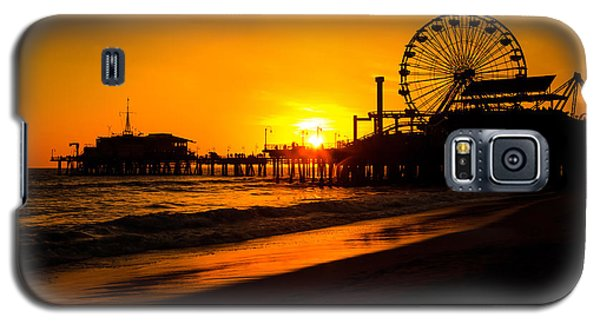 Santa Monica Pier California Sunset Photo Galaxy S5 Case by Paul Velgos