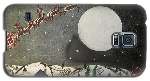 Galaxy S5 Case featuring the painting Santa Over The Moon by Jeffrey Koss