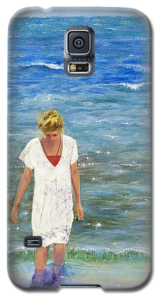 Galaxy S5 Case featuring the painting Savoring The Sea by Margaret Bobb