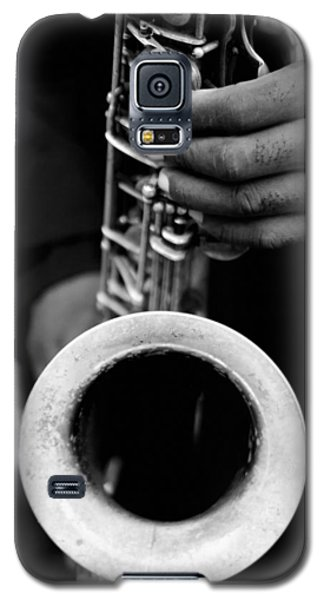 Galaxy S5 Case featuring the photograph Sax Player by Dave Beckerman
