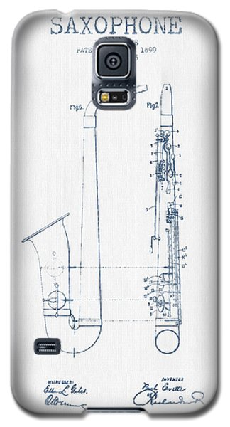 Saxophone Patent Drawing From 1899 - Blue Ink Galaxy S5 Case by Aged Pixel