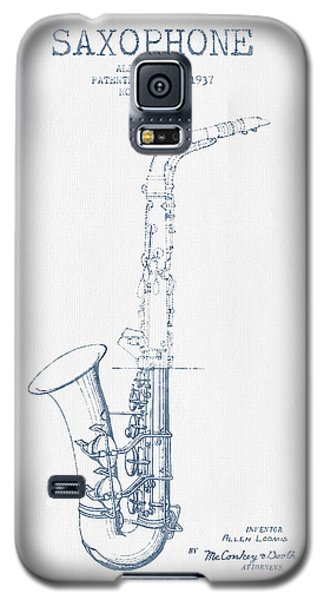 Saxophone Patent Drawing From 1937 - Blue Ink Galaxy S5 Case by Aged Pixel