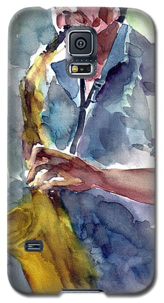 Galaxy S5 Case featuring the painting Saxophonist by Faruk Koksal