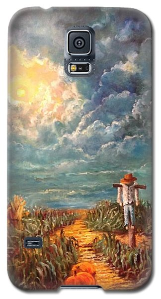 Scarecrow, Moon, Pumpkins And Mystery Galaxy S5 Case