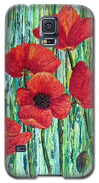 Galaxy S5 Case featuring the painting Scarlet Blooms by Susan DeLain