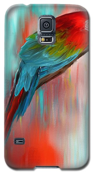Macaw Galaxy S5 Case - Scarlet- Red And Turquoise Art by Lourry Legarde