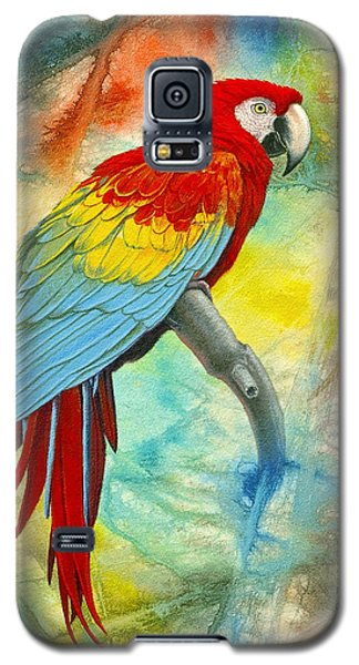 Scarlet Macaw In Abstract Galaxy S5 Case by Paul Krapf