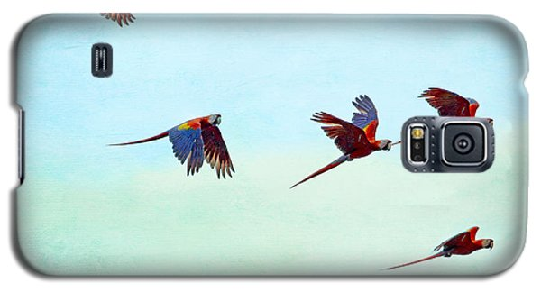 Galaxy S5 Case featuring the painting Scarlet Mackaws Flying by Peggy Collins