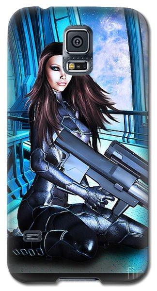 Sci-fi Brunette With A Big Gun Galaxy S5 Case