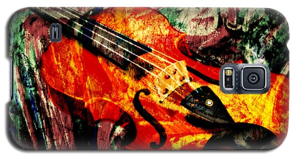 Galaxy S5 Case featuring the mixed media Scribbled Fiddle by Ally  White