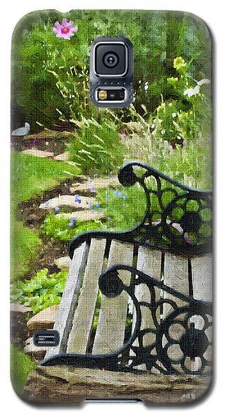 Scroll Bench Garden Scene Digital Artwork Galaxy S5 Case
