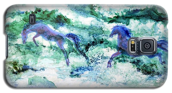 Galaxy S5 Case featuring the painting Sea Horses by Joan Hartenstein