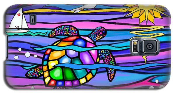 Galaxy S5 Case featuring the digital art Sea Turle In Blue And Pink by Jean B Fitzgerald