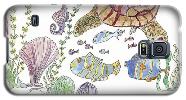 Galaxy S5 Case featuring the painting Sea Turtle And Fishies by Helen Holden-Gladsky
