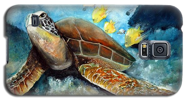 Galaxy S5 Case featuring the painting Sea Turtle I by Bernadette Krupa