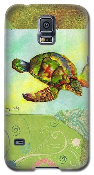 Sea Turtle Flight Mixed Media Galaxy S5 Case by Tamyra Crossley