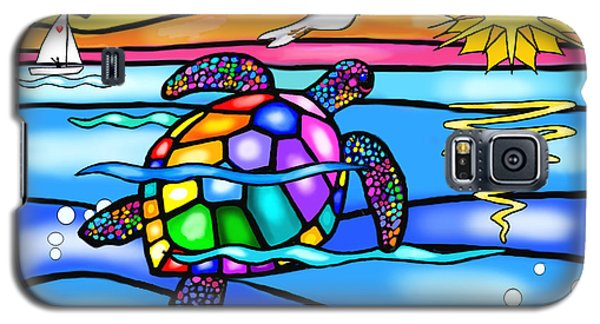 Galaxy S5 Case featuring the digital art Sea Turtle In Turquoise And Blue by Jean B Fitzgerald