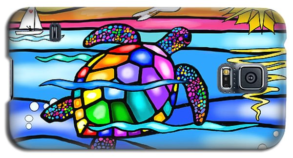 Sea Turtle In Turquoise And Blue Galaxy S5 Case