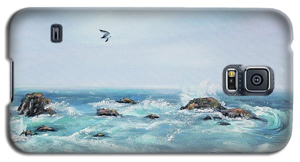 Galaxy S5 Case featuring the painting Seagull Over The Ocean by Asha Carolyn Young