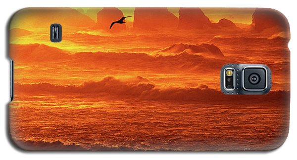Galaxy S5 Case featuring the photograph Seagull Soaring Over The Surf At Sunset Oregon Coast by Dave Welling