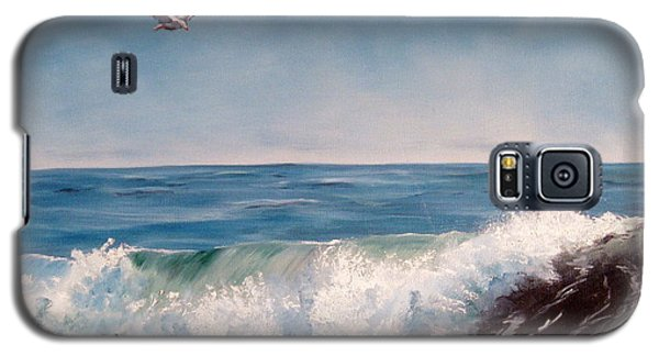 Galaxy S5 Case featuring the painting Seagull With Wave  by Lee Piper