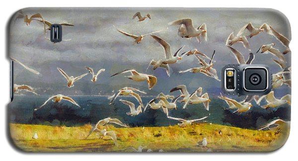 Galaxy S5 Case featuring the digital art Seagulls Of Protection Island by Kai Saarto
