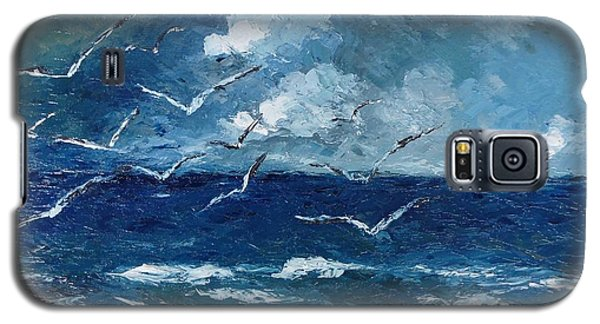Galaxy S5 Case featuring the painting Seagulls Over Adriatic Sea by AmaS Art