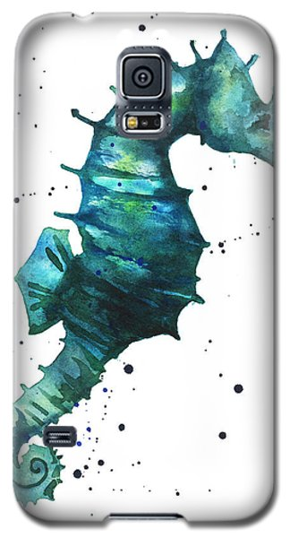 Seahorse Galaxy S5 Case - Seahorse In Teal by Alison Fennell