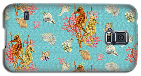 Seahorses Coral And Shells Galaxy S5 Case by Kimberly McSparran