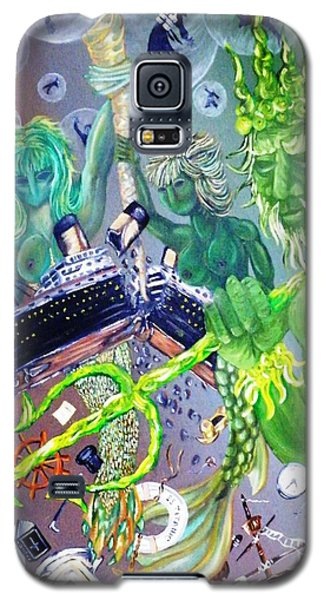 Galaxy S5 Case featuring the painting Sean Lion Women And Mermaids Doing Autopsies On Things As The Bad Ass In The Corner Looks On. by The GYPSY And DEBBIE