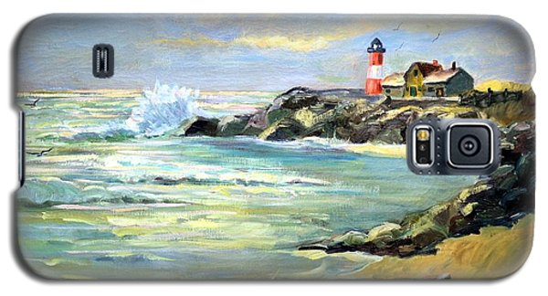 Galaxy S5 Case featuring the painting Seascape Lighthouse By Mary Krupa by Bernadette Krupa