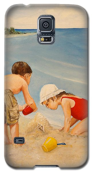 Galaxy S5 Case featuring the painting Seashell Sand And A Solo Cup by Alan Lakin