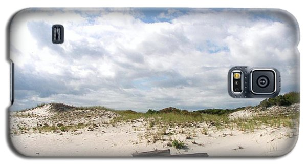 Galaxy S5 Case featuring the photograph Seaside Driftwood And Dunes by Pamela Hyde Wilson