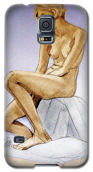 Galaxy S5 Case featuring the drawing Seated Female Nude Dreaming by Greta Corens