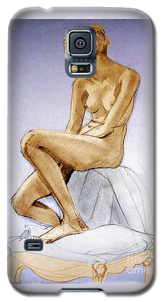 Tinted Figure Drawing Of A Seated Female Nude Dreaming Galaxy S5 Case