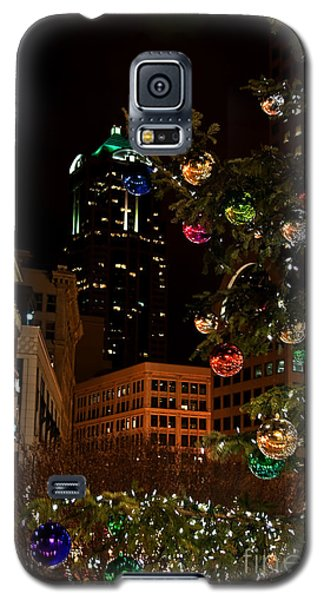 Galaxy S5 Case featuring the photograph Seattle Downtown Christmas Time Art Prints by Valerie Garner