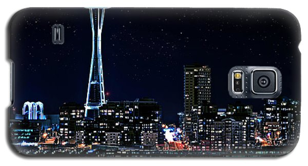 Seattle Skyline At Night With Full Moon Galaxy S5 Case