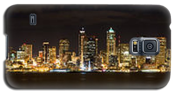 Galaxy S5 Case featuring the photograph Seattle Waterfront At Night Panoramic by Chris McKenna