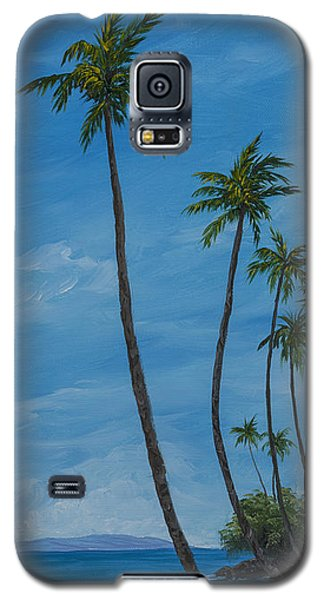 Galaxy S5 Case featuring the painting Seawall Palms by Darice Machel McGuire