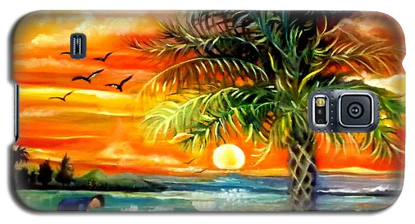 Galaxy S5 Case featuring the painting Seawaves Sunset In Tampa by Yolanda Rodriguez