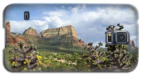 Galaxy S5 Case featuring the photograph Sedona Cactus In Bloom by Maria Janicki