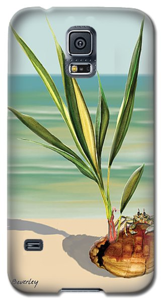 Galaxy S5 Case featuring the painting Seedling Floating Ashore by Anne Beverley-Stamps