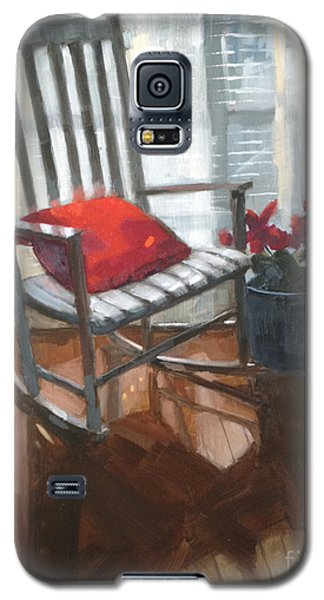 Galaxy S5 Case featuring the painting Sold - Seeing Red  by Nancy  Parsons