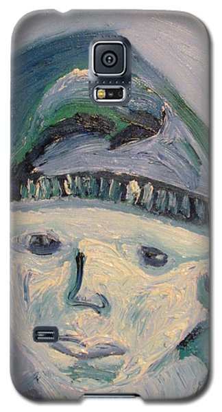 Galaxy S5 Case featuring the painting Self Portrait In Blue And Green by Shea Holliman
