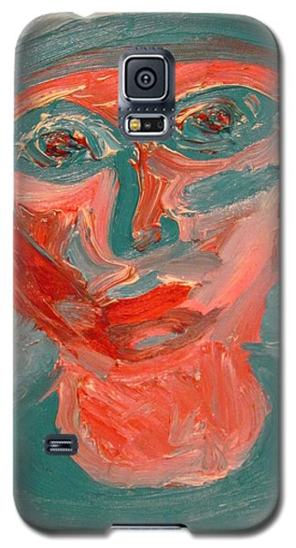 Galaxy S5 Case featuring the painting Self Portrait In Turquoise And Rose by Shea Holliman