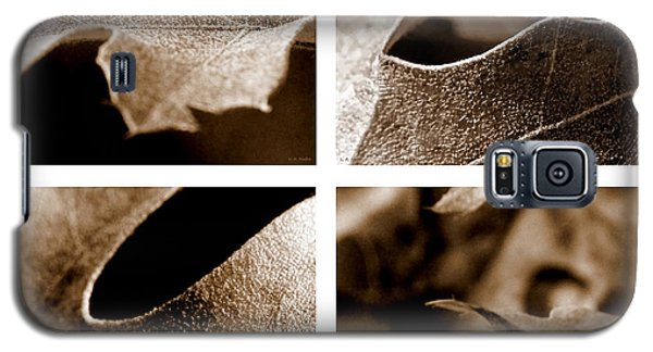 Galaxy S5 Case featuring the photograph Sepia Leaf Collage by Lauren Radke