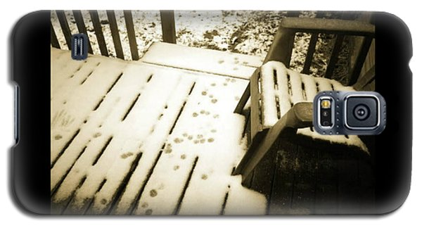 Galaxy S5 Case featuring the photograph Sepia - Nature Paws In The Snow by Absinthe Art By Michelle LeAnn Scott
